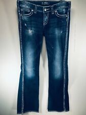 Silver Jeans Twisted Women's Bootcut Jeans Tag 28x33 Actual 31x33 Thick Stitch
