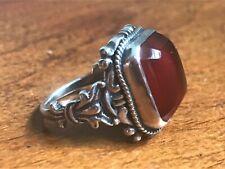 Antique Victorian / Edwardian Silver & Carnelian Ring - Circa 1900 - UK Size O