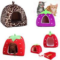 Soft Strawberry Pet Dog Bed Cat Nest Warm House Kennel Doggy Cushion Basket New