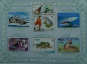 WWF Fauna endangered animnals  Guinea-Bissau 2010 Mi.4810-14 #GB10407a IMPERF