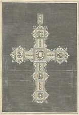 A4065 Croce vescovile - Incisione - Stampa Antica del 1888