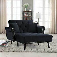 Modern Chair Mid Century Velvet Fabric Recliner Sleeper Chaise Lounge, Black