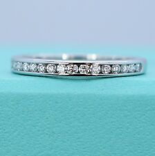 $2425 Tiffany & Co Platinum Half Channel Round Diamond 2mm Wedding Ring Band 5