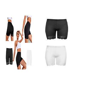 Womens Ladies Scallop Lace Trim Cycling Shorts Gym Dancing Casual Leggings Pants