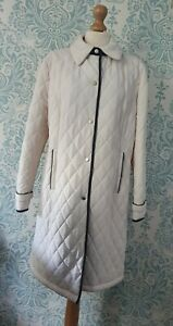 David Barry Ivory Quilted Overcoat With Navy Trim Size  16