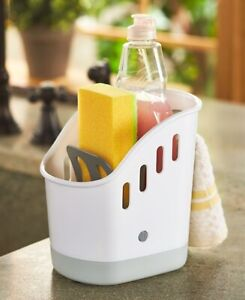 Sink Caddy 3 Compartment Space-Saving Organizer White