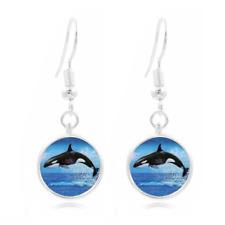 Orca Jumping Photo Art Glass Cabochon 16mm Charm Earring Earring Hooks