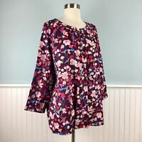 Size XL Tommy Hilfiger Women's Brown Floral Peasant Shirt Top Blouse Extra Large