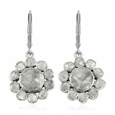 Handmade 925 Sterling Silver Polki Diamond Drop Dangle Earrings Ct 0.1 I Color
