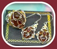 ❤️Michael Valitutti Gems en Vogue Amber Garnet Orange Sapphire Ring Earrings❤️