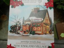 Dept 56 New England Village Partridge Wreath Shop Nib