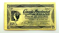 Spain-GUERRA CIVIL. Badajoz 25 Céntimos. 1 de Octubre de 1937. EBC-/XF-