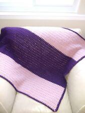 Handmade crocheted lap blanket - Acrylic - Mauve and Purple