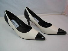 "Womens Chadwick's Cream & Black Leather Pumps Shoes 2 3/4"" Heels Sz 5 1/2M"