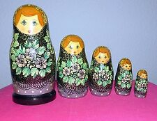 5 Russian Matryoshka Nesting Dolls Flower Lady Artist Signed 1993