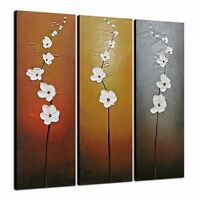 Original Hand Paint Canvas Oil Paintings Pictures Wall Art Home Decor Flower 3PC