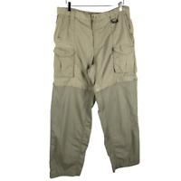 Columbia PFG Mens Convertible Cargo Pants Size L Green Hiking Zip Nylon Shorts