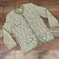 Sigrid Olsen Womens Ladies Cardigan Sweater M Medium Pattern 3/4 Sleeve Pockets