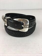 Vintage Brighton Onyx Mens Belt 32 Black Leather Braided Silver Buckle Golf Coin