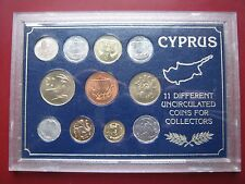 Cyprus 1963 - 1985 various years UNC 11 coin set Mils & Cents in plastic case