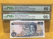 1976(ND) Jersey,The States Of Jersey QE II £1 Pound P-11a Low Serial Pair