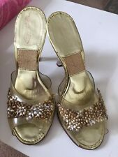 Auth Vtg Designer Schiaparelli Lucite Heels Pumps Gold Pin Up Slip On Shoes 6 M