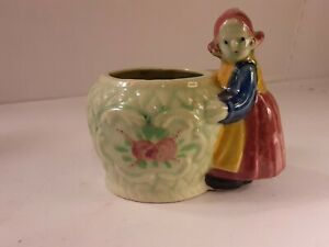 Vintage Dutch Girl Planter/Pin Holder Green and Red
