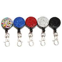 Rhinestone Bling Crystal ID Badge Cell Phone Retractable Reel Holder -LD