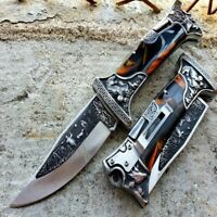 "9"" Back Lock Tactical Folding Pocket Knife Hunting Blade Engraved 3CR13 S Steel"