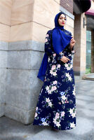 Women's Muslim Islamic Abaya Traditional Flower Long Sleeve Maxi Vintage Dress