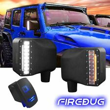 Firebug Jeep Wrangler Side Mirror Housing with Turn Signal Lights+ Bonus Switch