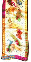 SCARF Long Silk Blue Orange Violet Green Red Peach Background HAPPY KITTY CATS