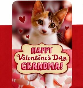 Happy Valentine's Day Grandma Kitty Cat Kitten & Hearts Hallmark Card