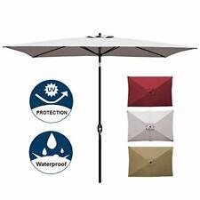 Blissun 10' Rectangular Patio Umbrella Outdoor Market Table Umbrella (Grey)