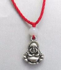 Un Red lung Tibetan Silver Ciondolo Buddha cinese portafortuna Giada Collana Con Pendente Perline