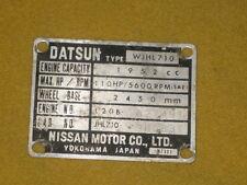 DATSUN 710  L20B IDENTIFICATION PLATE 1974-1977