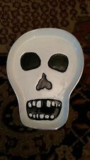 HALLOWEEN SKELETON SKULL ALUMINUM METAL AND PORCELAIN DISH TRAY