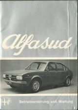 ALFA ROMEO ALFASUD Betriebsanleitung 1973 Bedienungsanleitung Handbuch BA