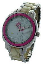 HELLO KITTY Watch NIB Pink  Bezel Metallic Silver & MOP Band Collectible