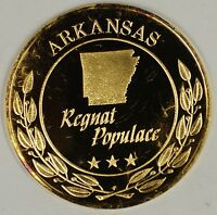 Gold Plated Sterling Silver Proof Medal Arkansas Regnat Populace In Case