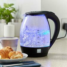 More details for blue led illuminated electric glass kettle 1.7l cordless portable design 2200w