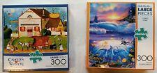 2 300-Piece Jigsaw Puzzles Charles Wysocki Landscape + Ocean Scene Lassen Lot