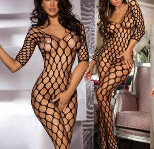 Black Sexy Fishnet Lingerie Nightwear Underwear  Crotchless Bodysuit 6-12