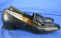 COBBIES Vintage BLACK LEATHER PUMPS Buckle Front SECRETARY MIDI-HEELS sz 10 AAA