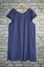 New Womens Elegant Blue Cotton Lace Tunic Blouse Top Dress UK Plus Size 22 - 24