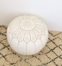 Moroccan Luxury White Handmade leather pouf