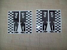 ( 2 ) SKA MAN & CHEQUERS,SCOOTER MOD FUN,CAR,BIKE,VAN LEG SHIELD Decals Stickers