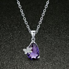Special Gift Butterfly Mystical Purple Amethyst Gemstone Silver Necklace Pendant