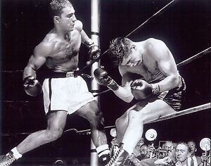 Great Rocky Marciano action 10x8 black and white photo ready for another KO