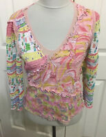 Alberto Makali M pink green yellow pastel floral pullover crinkle blouse
